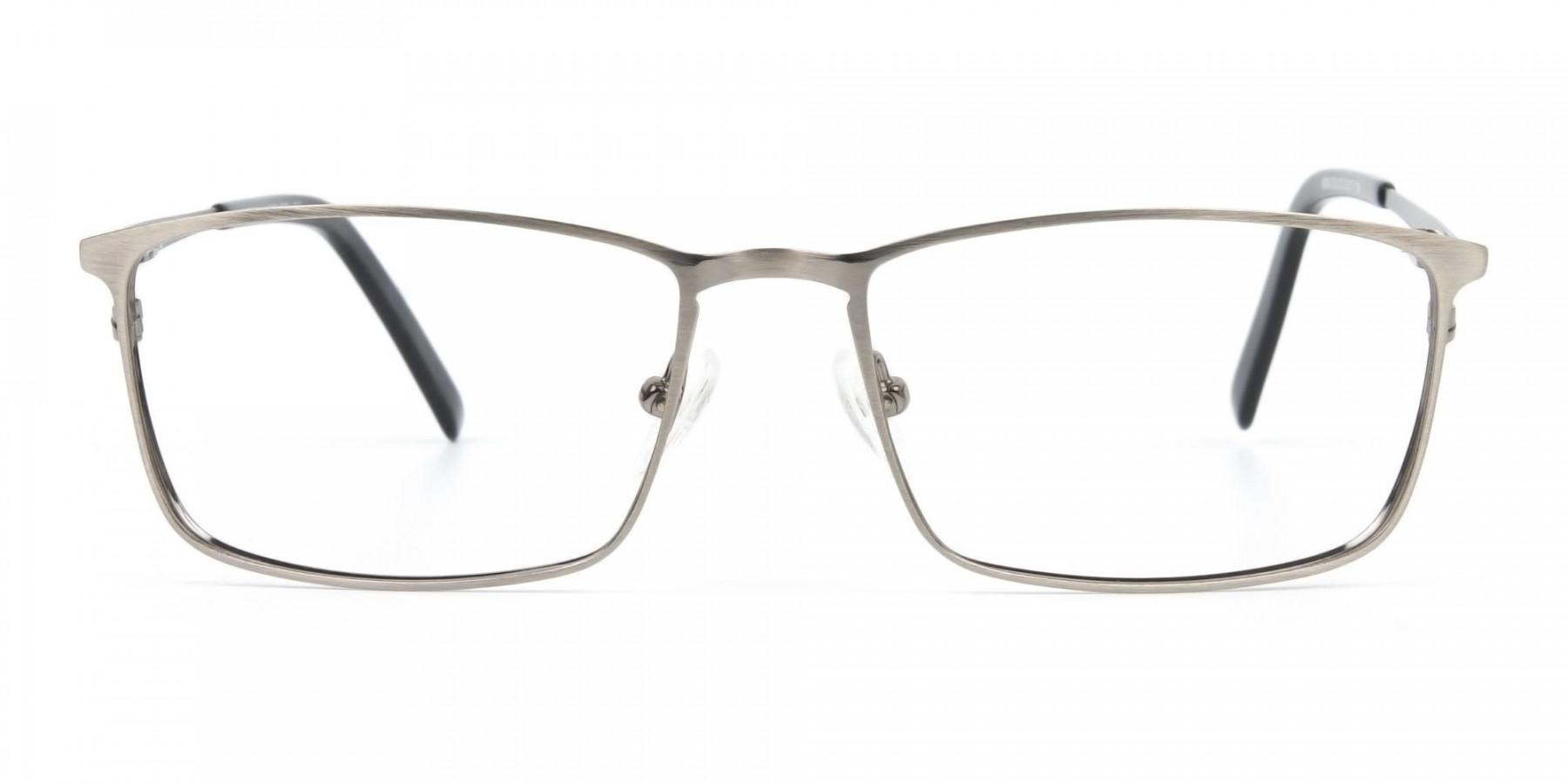 Gunmetal Rectangular Glasses with Black Temple-1