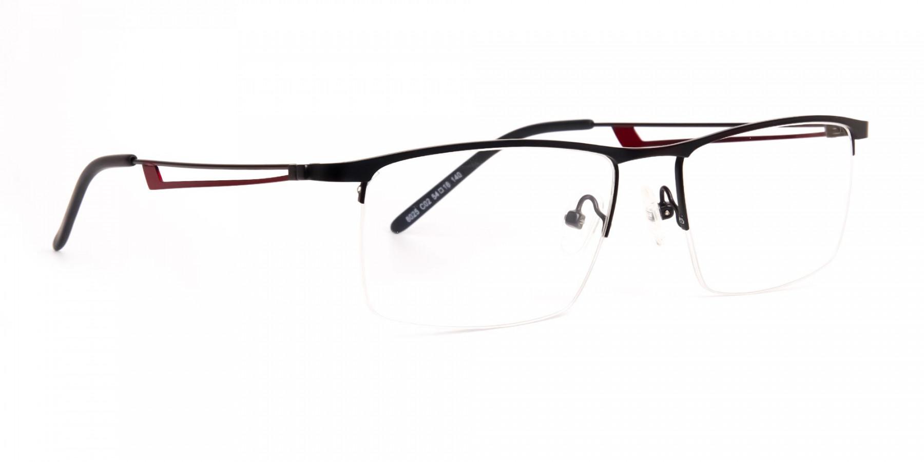 black and red half-rim rectangular glasses frames-1