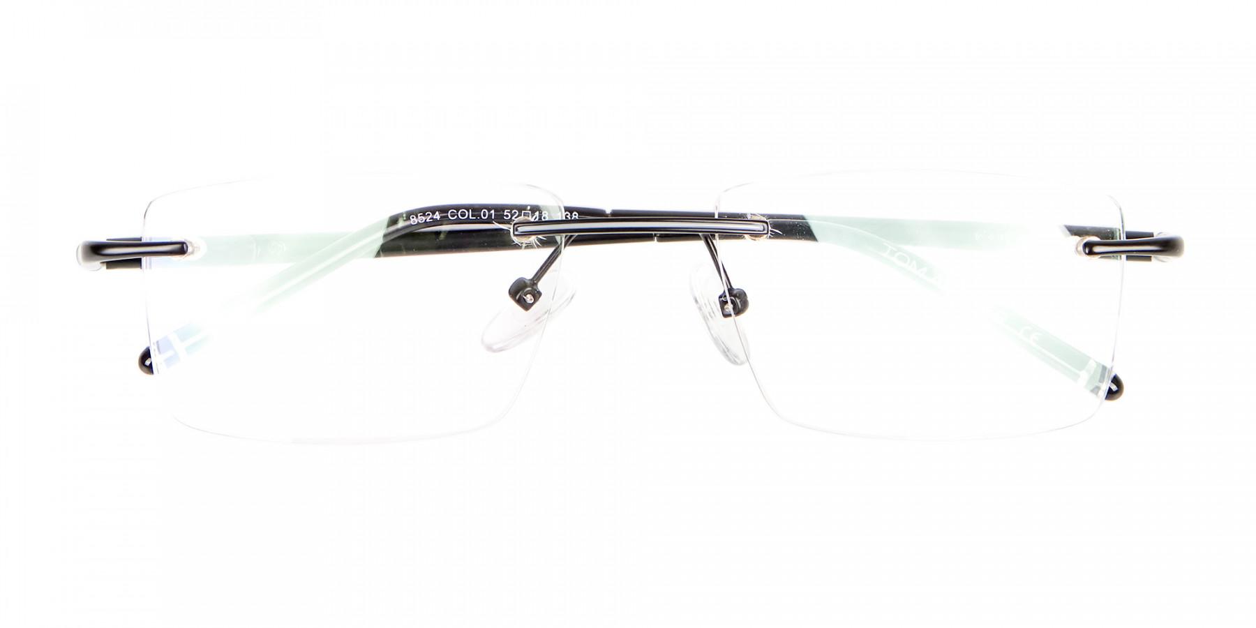 Latest Black Rimless Rectangular Glasses UK -1