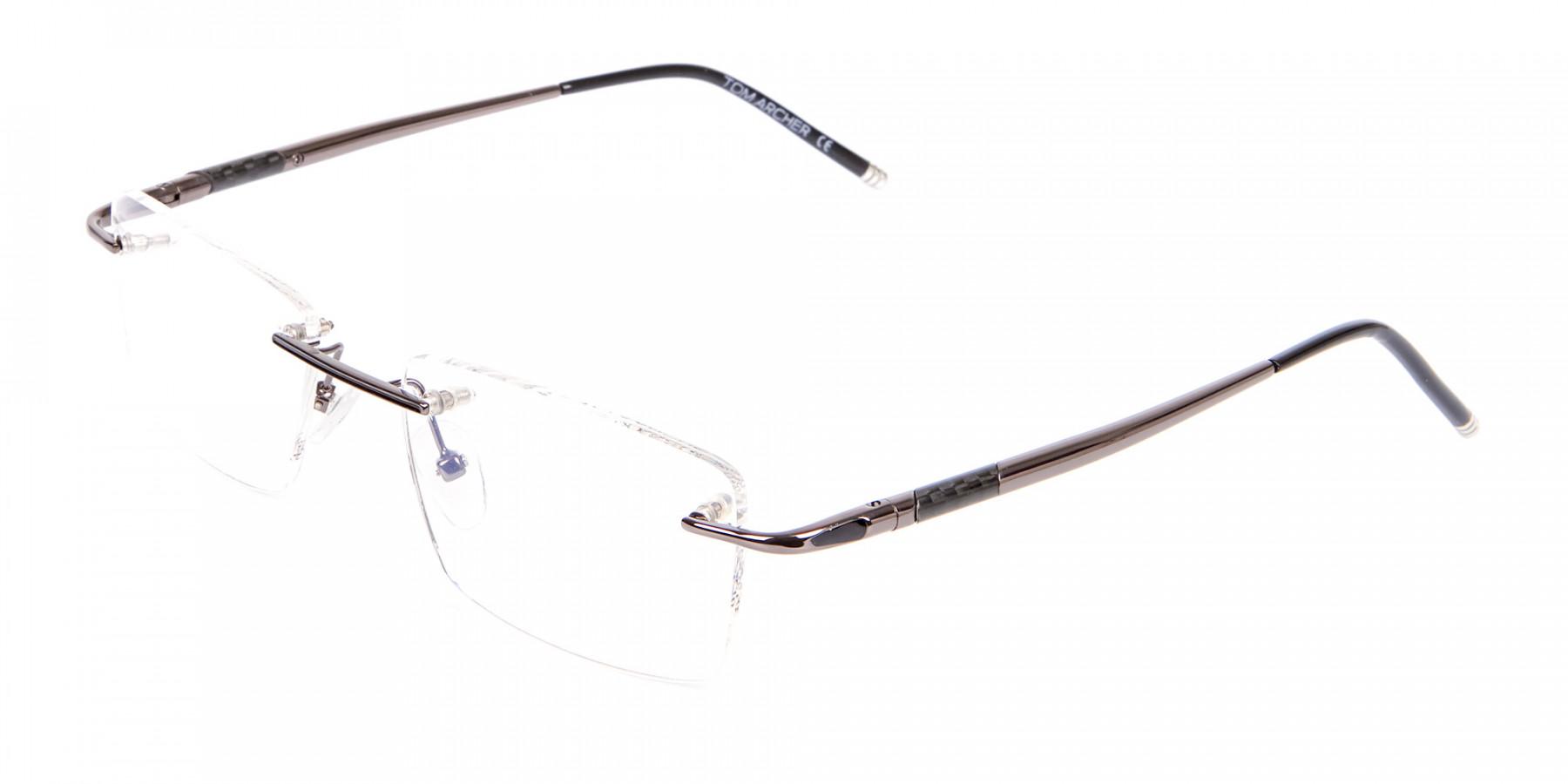 Gunmetal Rimless Lightweight Glasses Online-1
