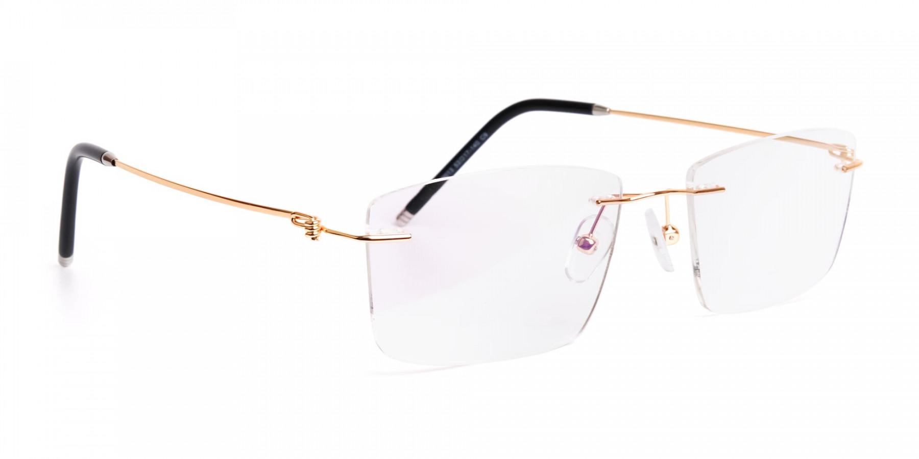 gold-rectangular-rimless-titanium-glasses-frames-1