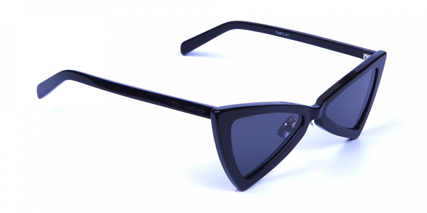 Black Triangle Cat-Eye Sunglasses - 2