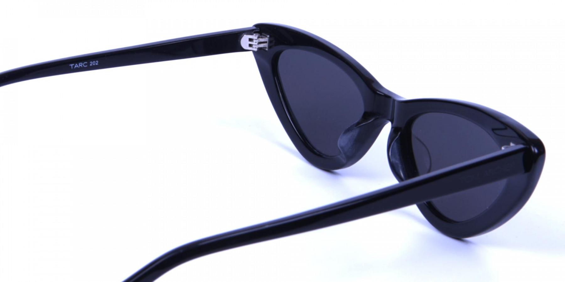 Black Narrow Cat-Eye Sunglasses - 2