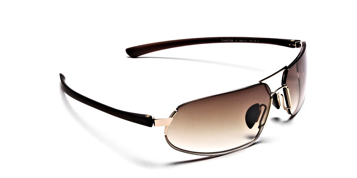 Wraparound Sunglasses in Brown and Gold - 2