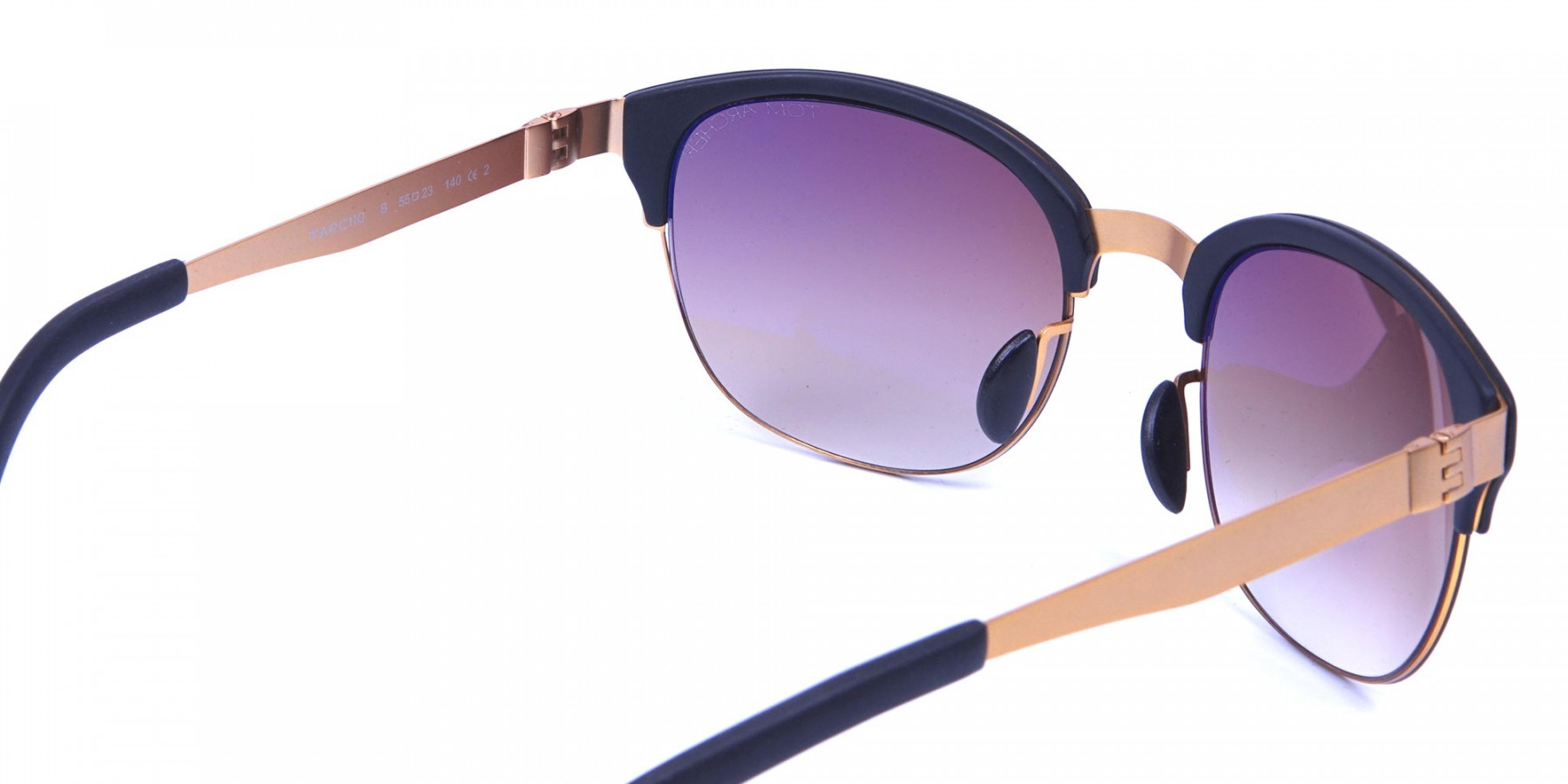 Gold Frame Sunglasses with Black Accents -2