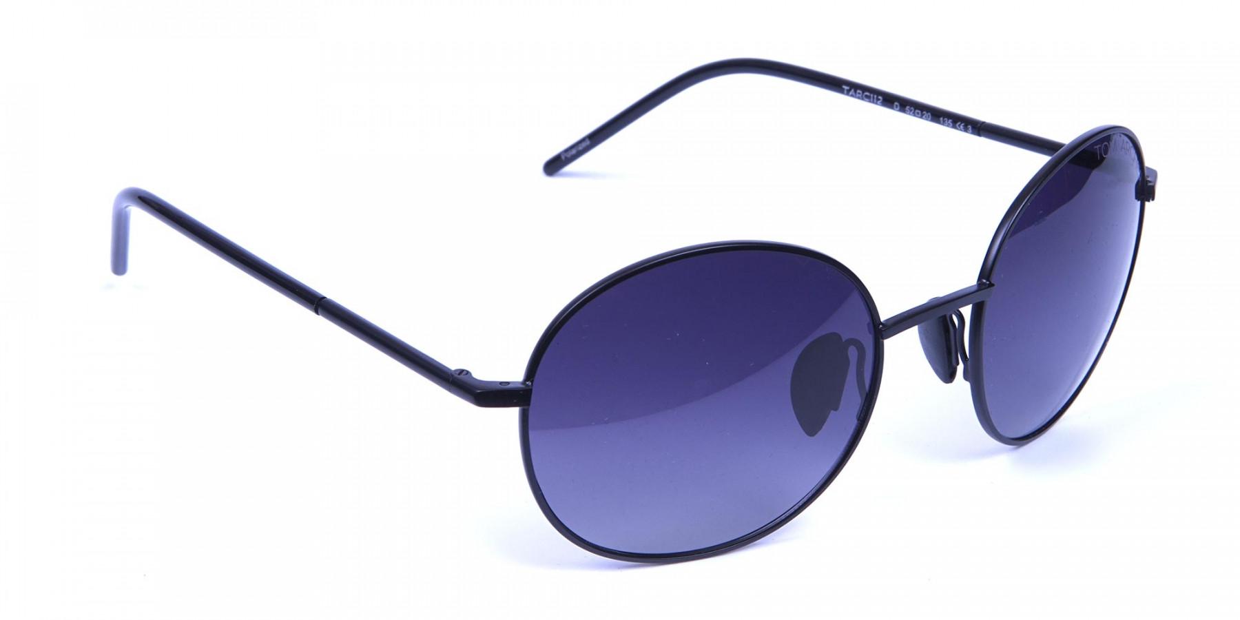 Black & Grey Sunglasses Round Frame -2