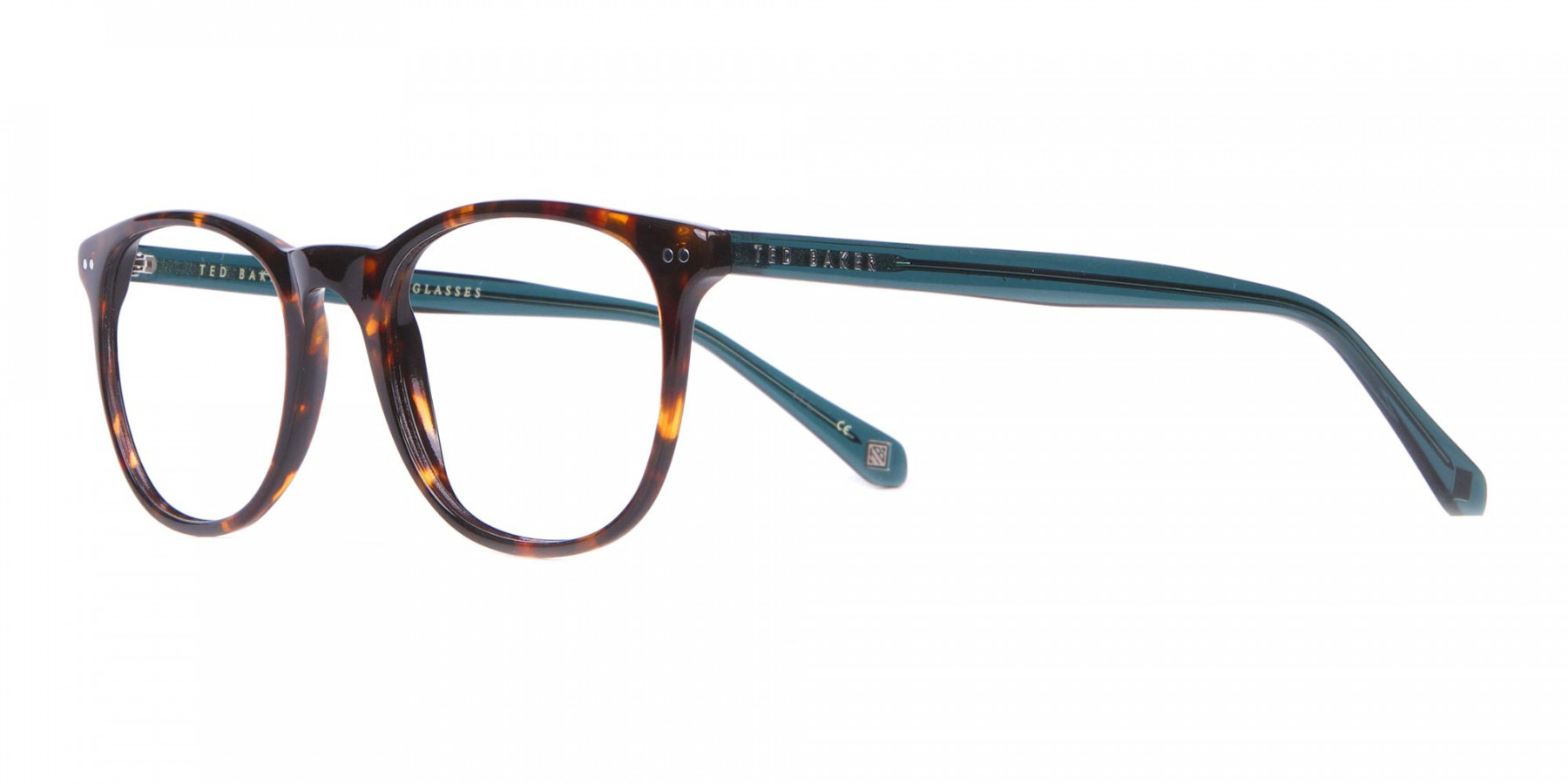 TED BAKER TB8120 Denny Round Glasses Tortoise & Teal-1