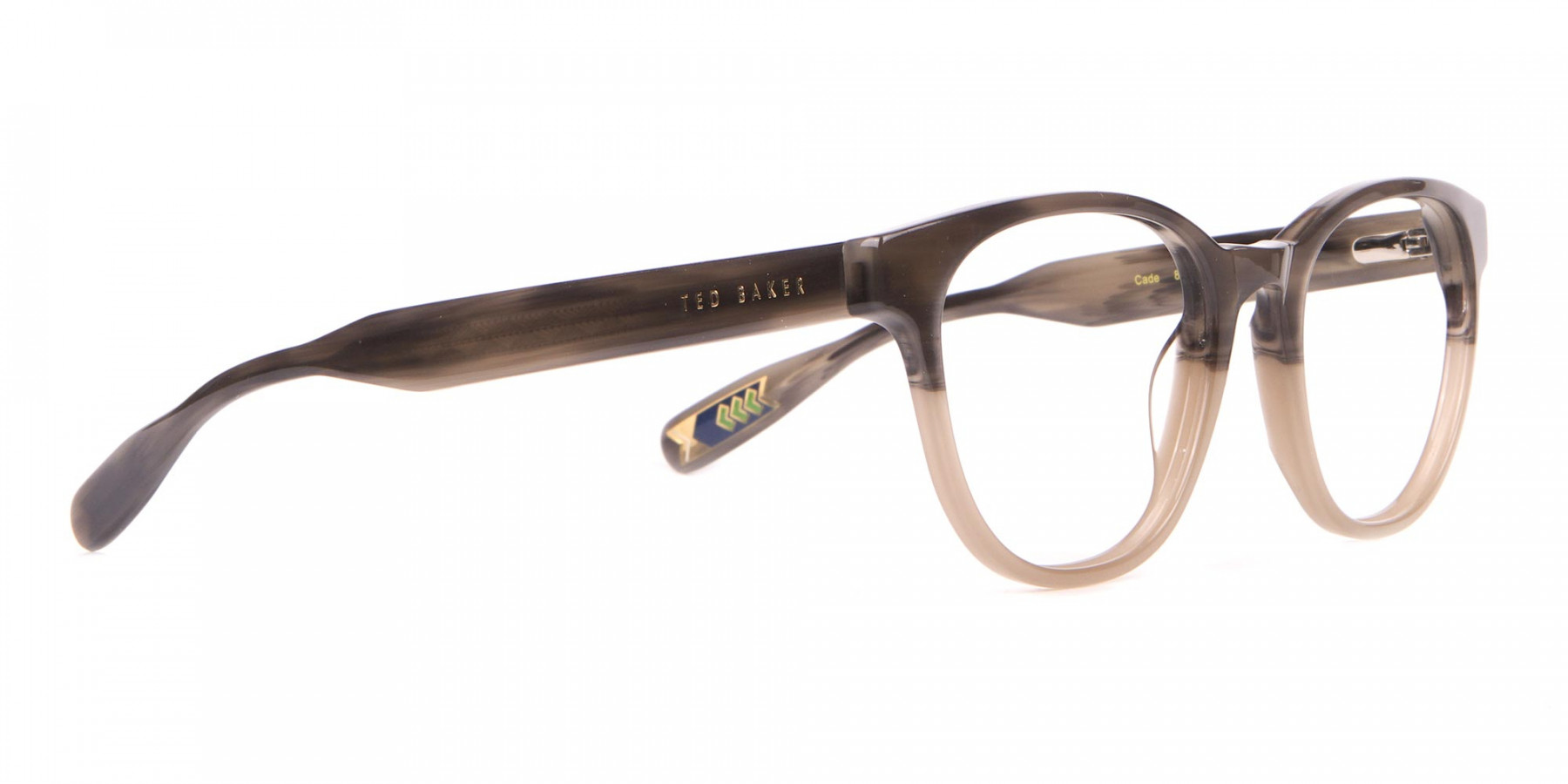 TED BAKER TB8197 Cade Glasses Classic Round in Grey Horn-1