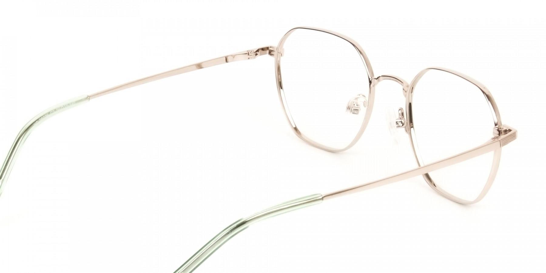 Gold Mint Green Geometric Glasses in Hexagon Shape - 1