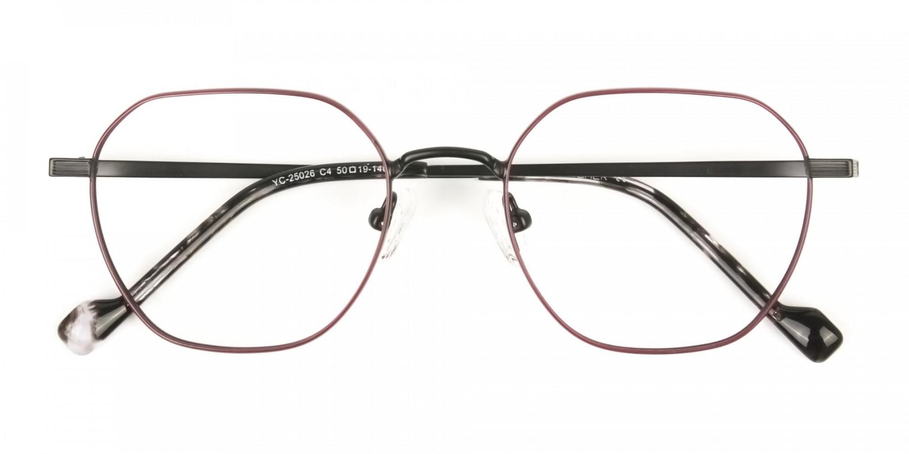 Black Red Geometric Glasses in Hexagon Shape - 1
