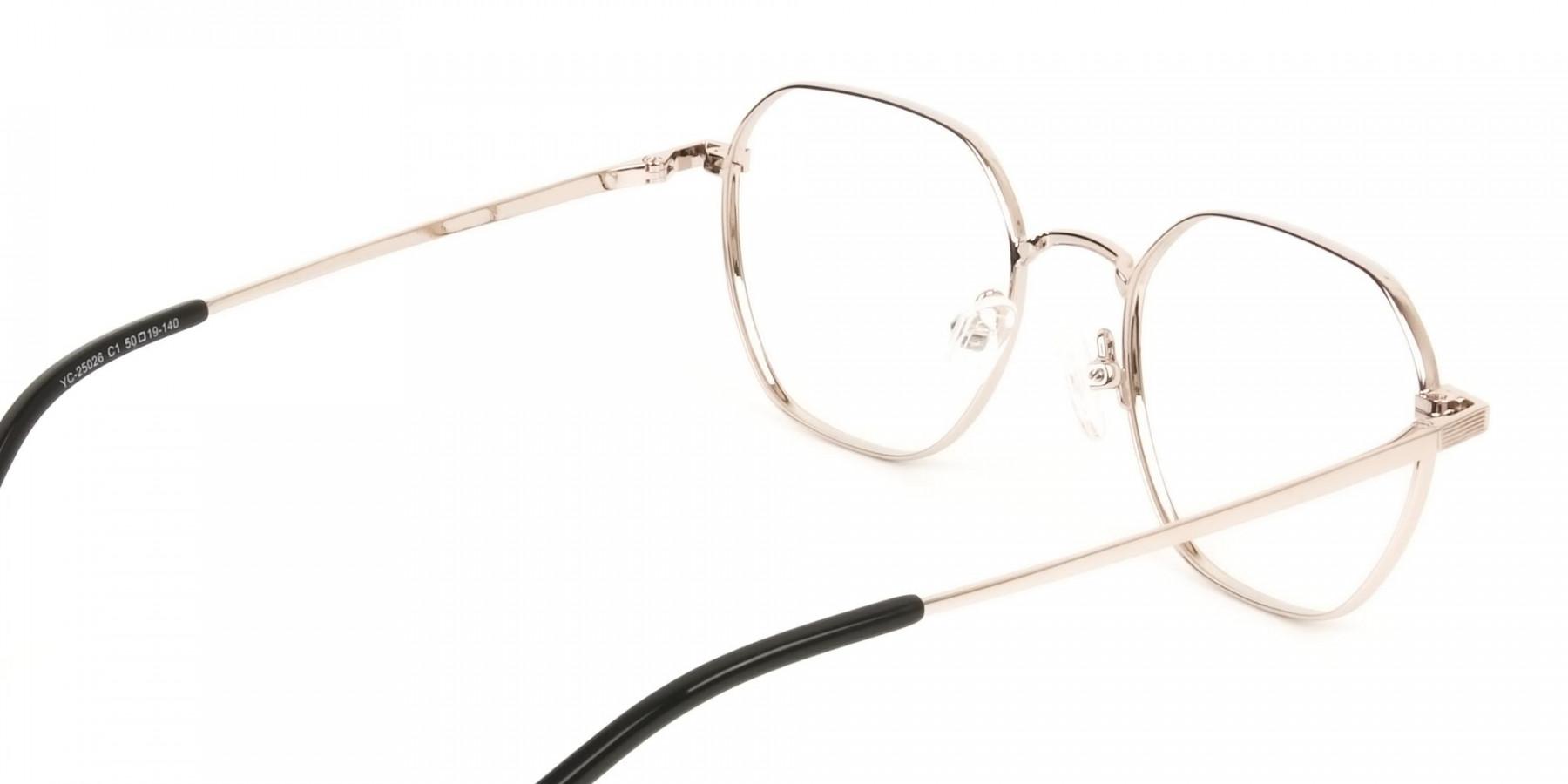 Gold Black Geometric Wayfarer Glasses in Metal - 1
