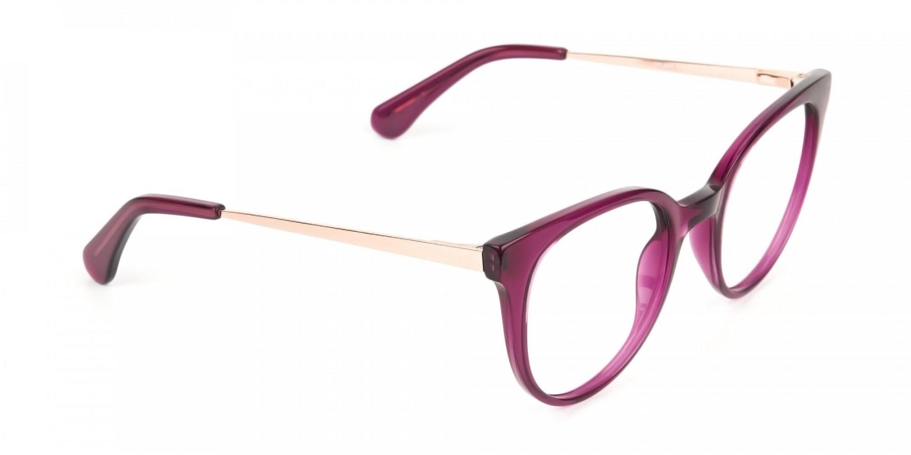 Magenta (Red/Purple) Round Cat-Eye Glasses-1