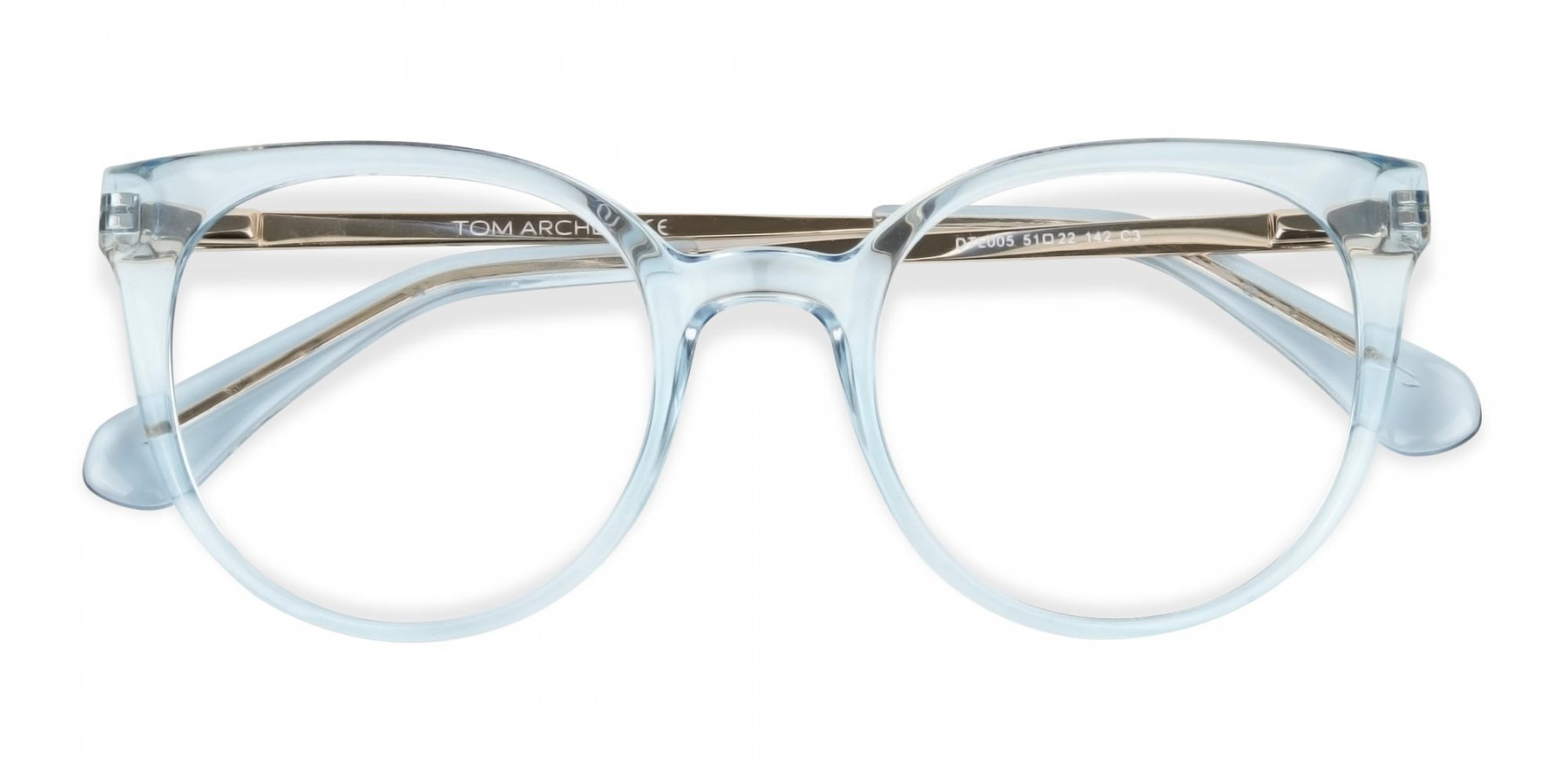 Blue Round Cat-Eye Glasses Gold Temple-1