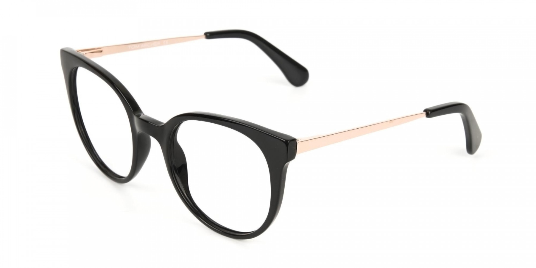 Black Round Cat-Eye Glasses Rose Gold Temple-1