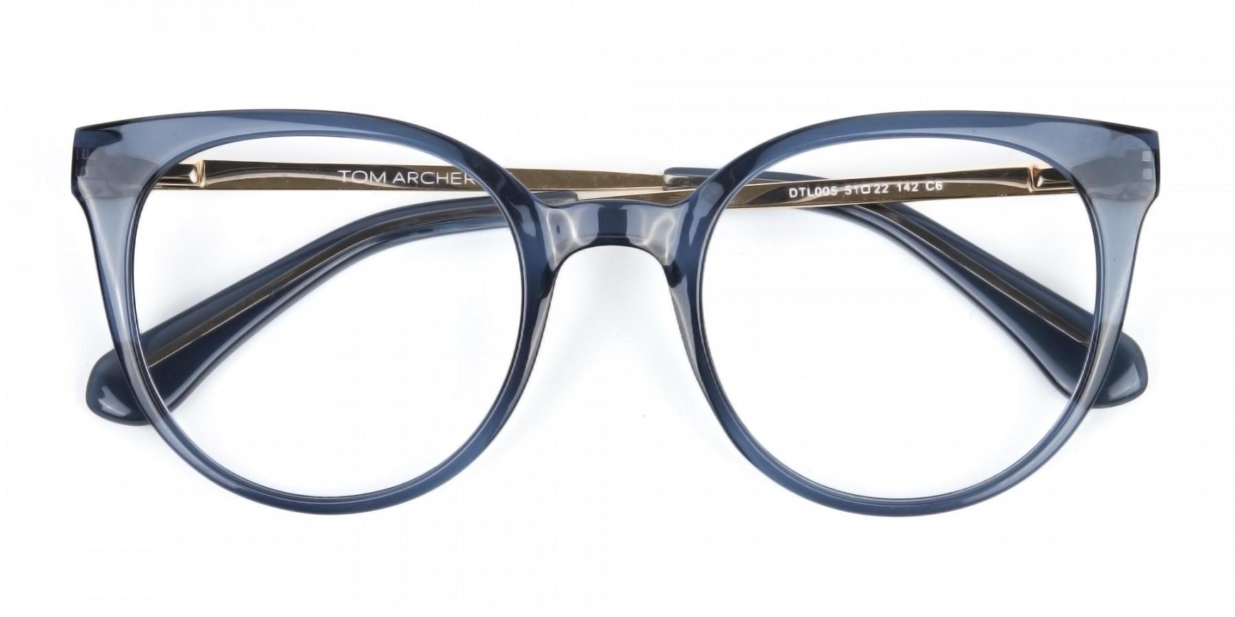 Crystal Grey Round Cat-Eye Glasses-1