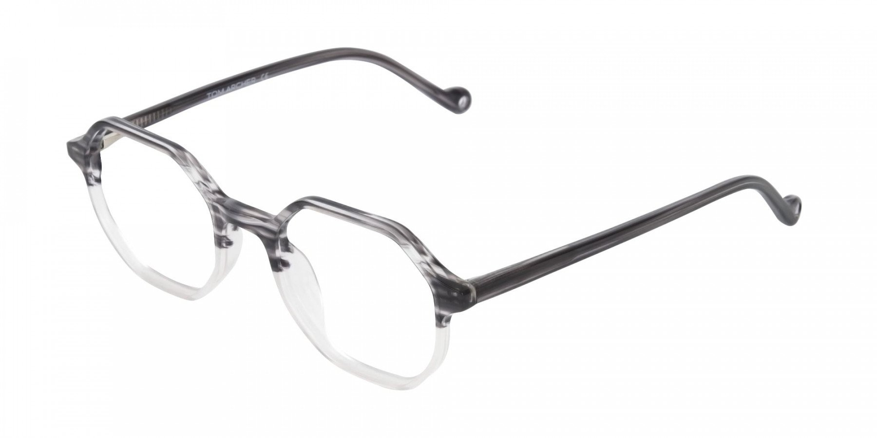 Octagon Glasses in Milky Grey with Stripe-1