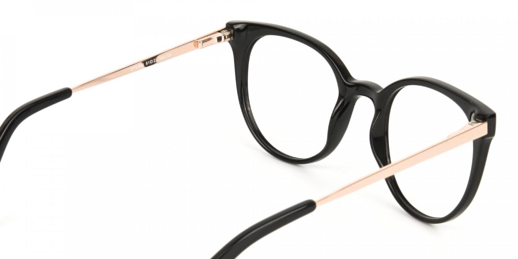 Black Round Cat-Eye Glasses Rose Gold Temple-1