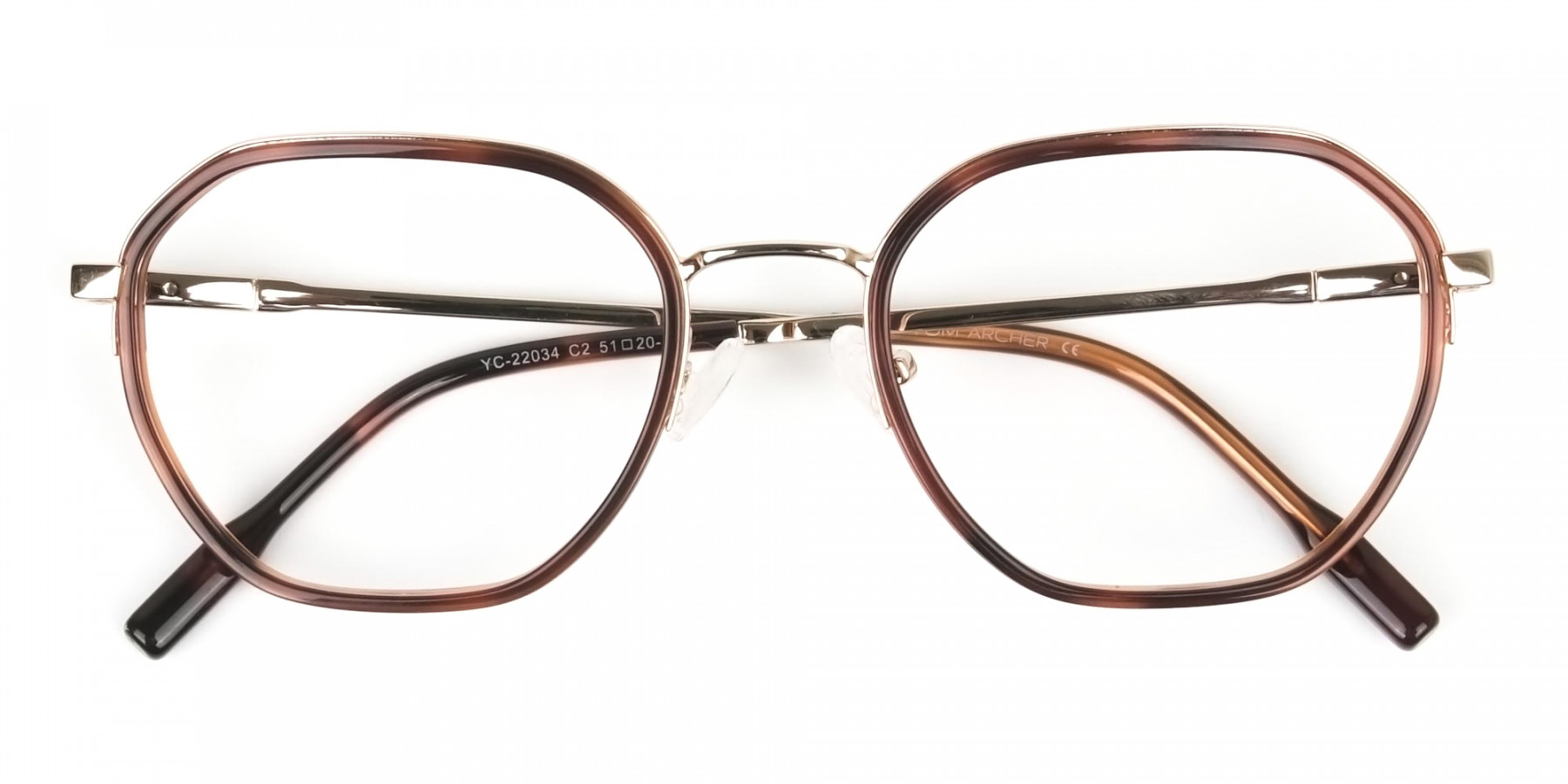 Wayfarer Brown Red Tortoise and Gold Geometric Glasses - 1