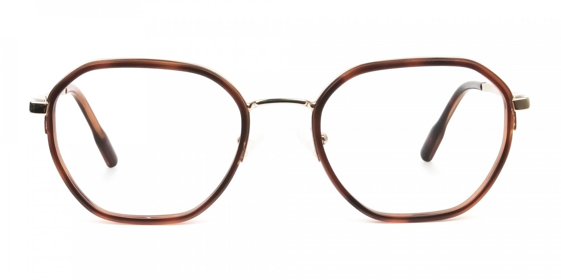 Wayfarer Brown Red Tortoise and Gold Geometric Glasses - 1