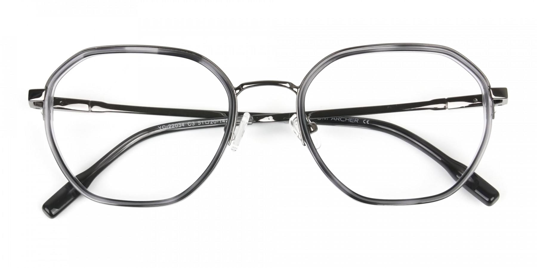 Gunmetal and Dusty Blue Geometric Glasses in Gunmetal  - 1