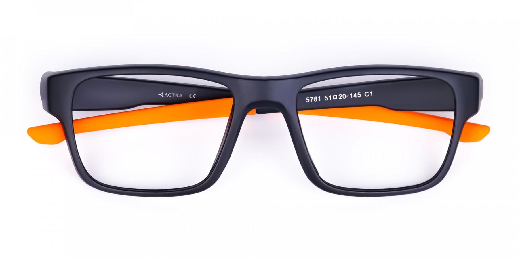 Orange and Black Rectangular Rim Cycling Glasses-1