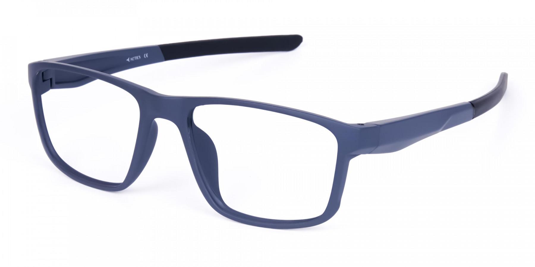 Matte Blue Rectangular Glasses For Golf-1