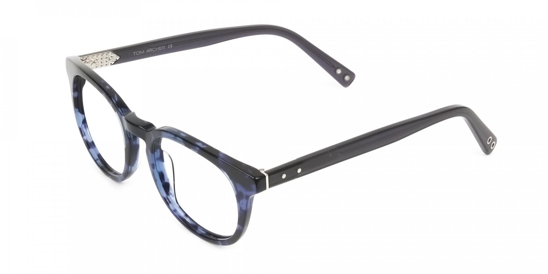 Round Ocean Blue Tortoise Handmade Acetate glasses - 1