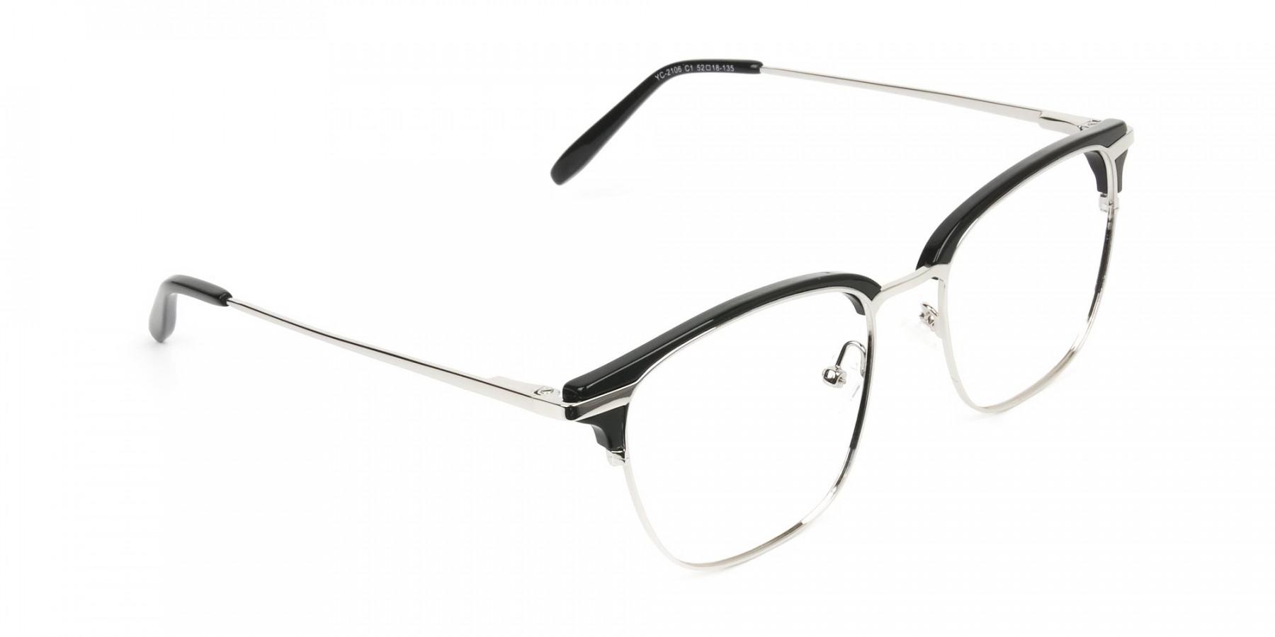 Wayfarer Black & Silver Clubmaster Frames - 1