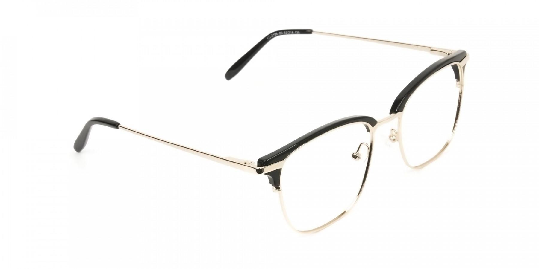 Wayfarer Black & Gold Clubmaster Frames - 1