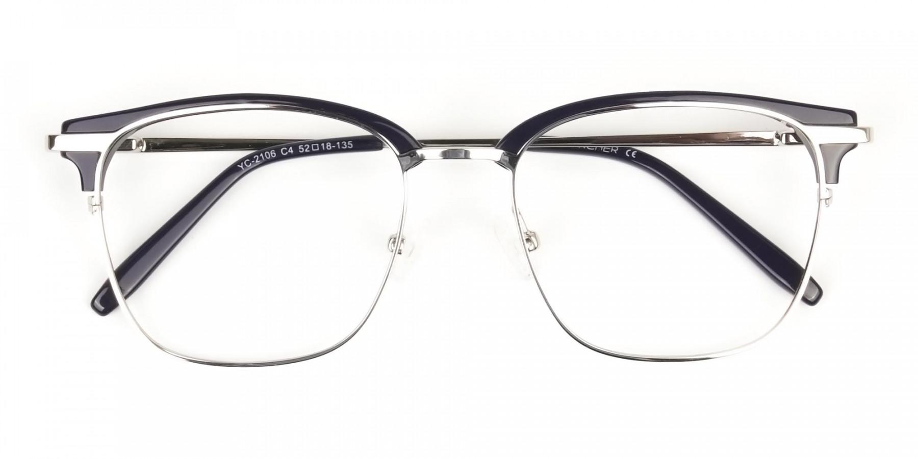 Wayfarer Silver & Indigo Blue Clubmaster Frames - 1