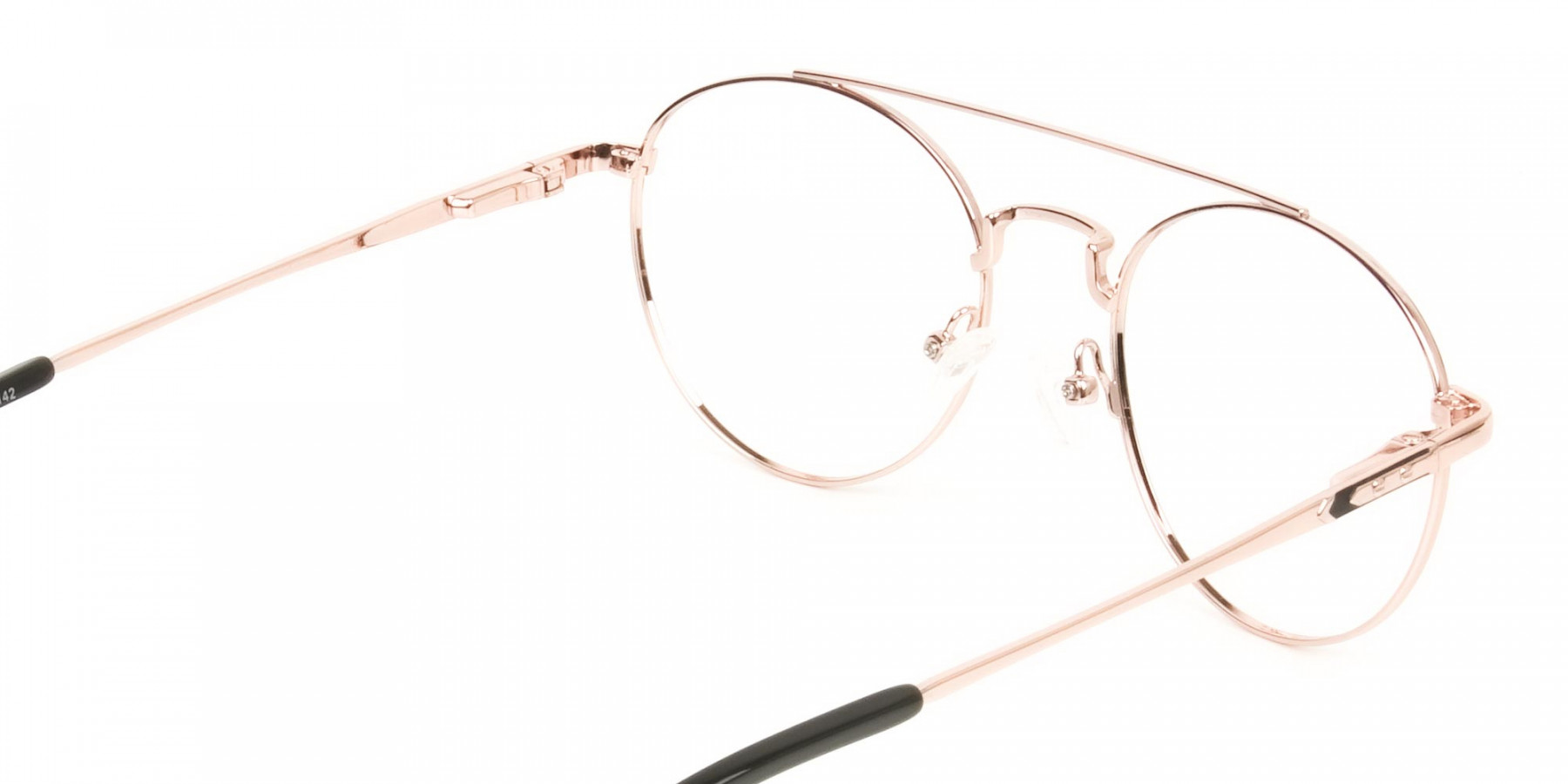Black & Rose Gold Round Aviator Glasses - 1
