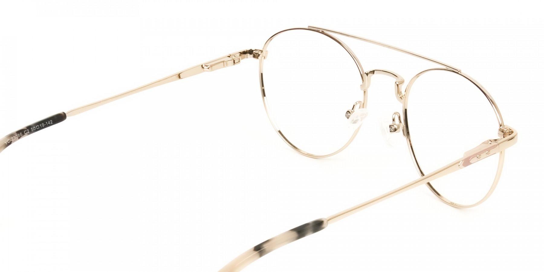 Lightweight Gold, Pink Round Aviator Glasses in Metal - 1