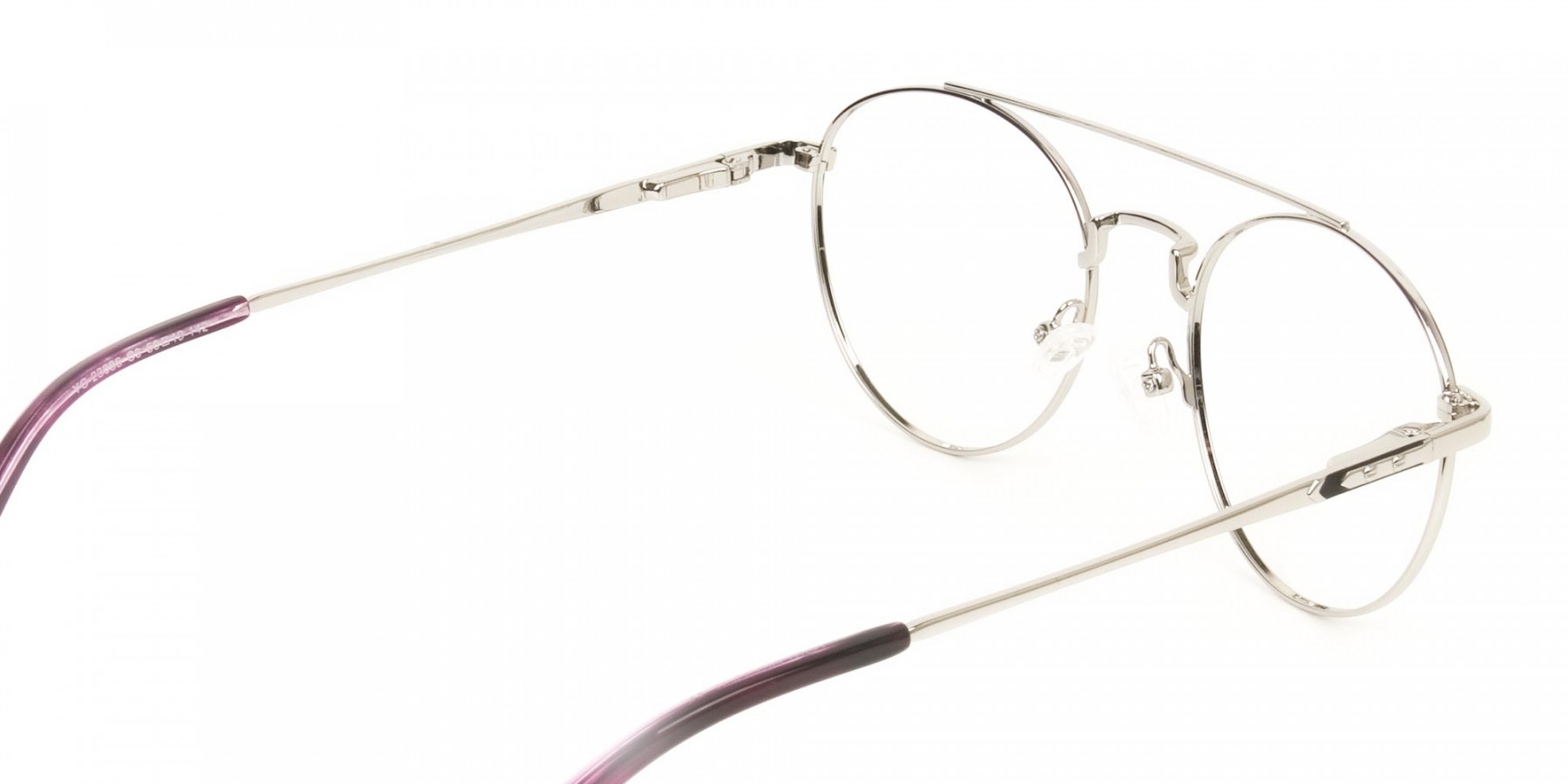 Lightweight Black & Silver Round Aviator Glasses in Metal - 1