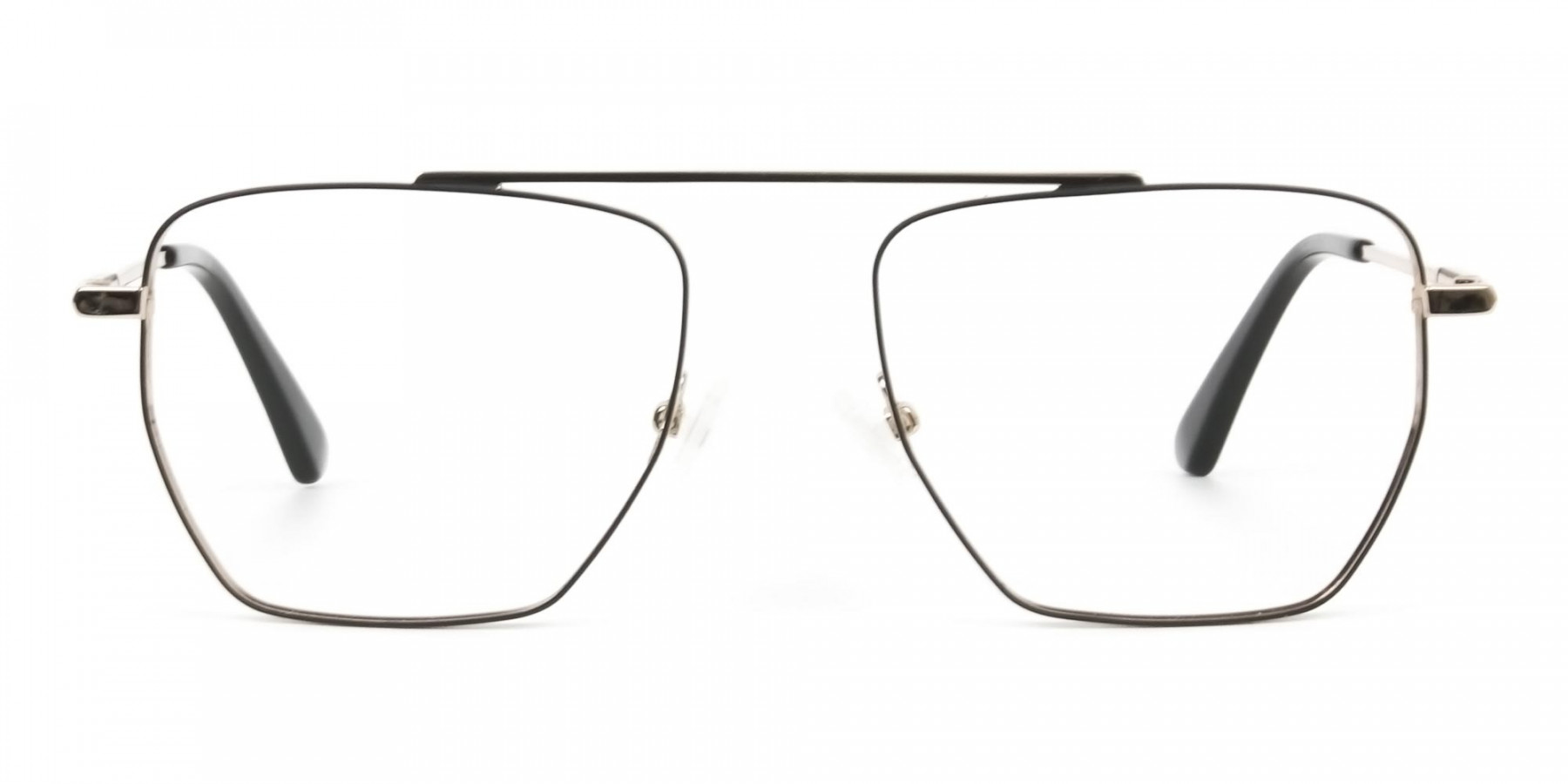 Black  and Gold Aviator  Wire Frame Glasses Men Women - 1
