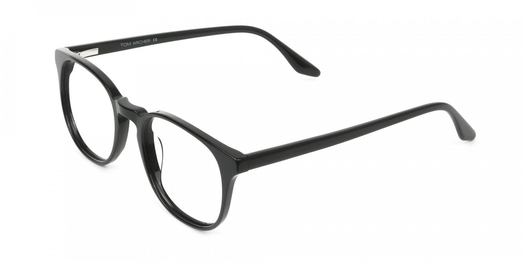 Black Wayfarer Style Glasses in Thin Frame - 1