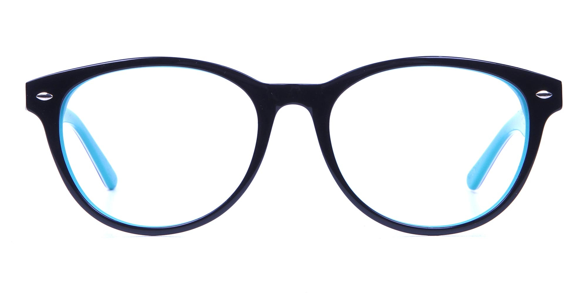 Black & Mint Round Glasses, Eyeglasses