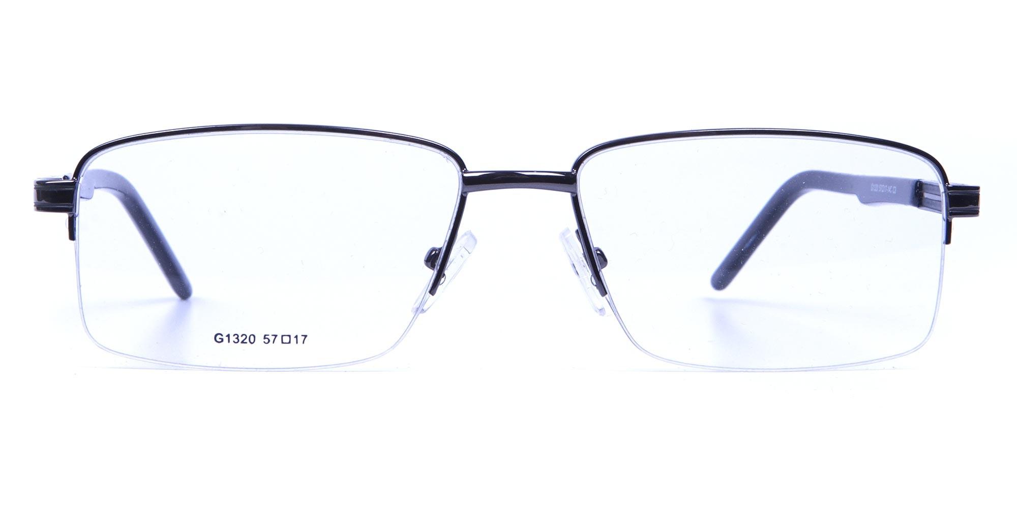 Rectangular Glasses in Gunmetal for Men & Women - 1