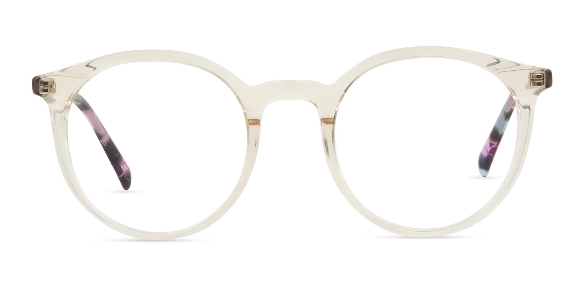 Crystal Amber Yellow Glasses Frames with Pink & Blue Tortoise Temple - 1