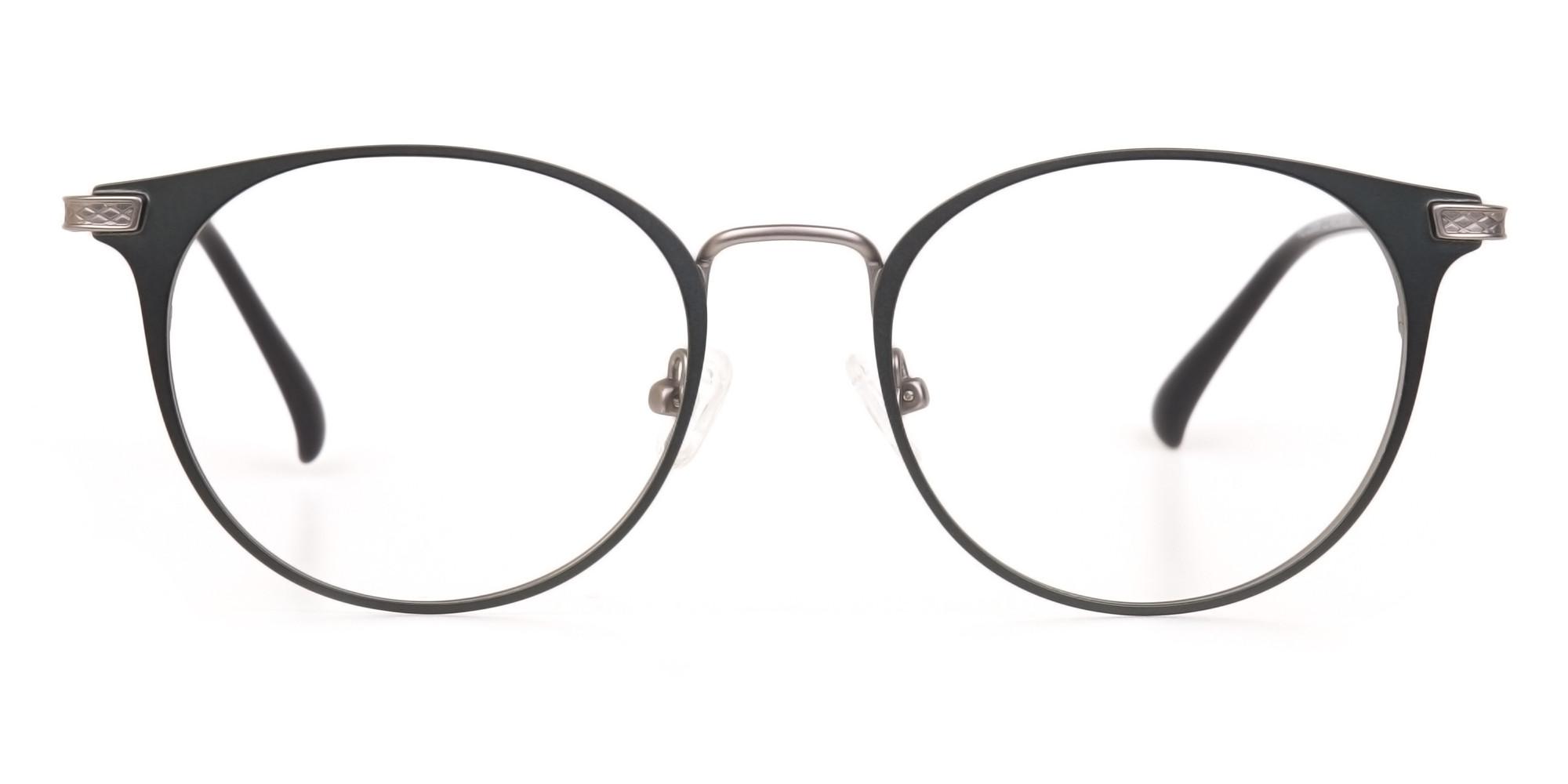 Matte Hunter Green Gunmetal Round Glasses Unisex -1