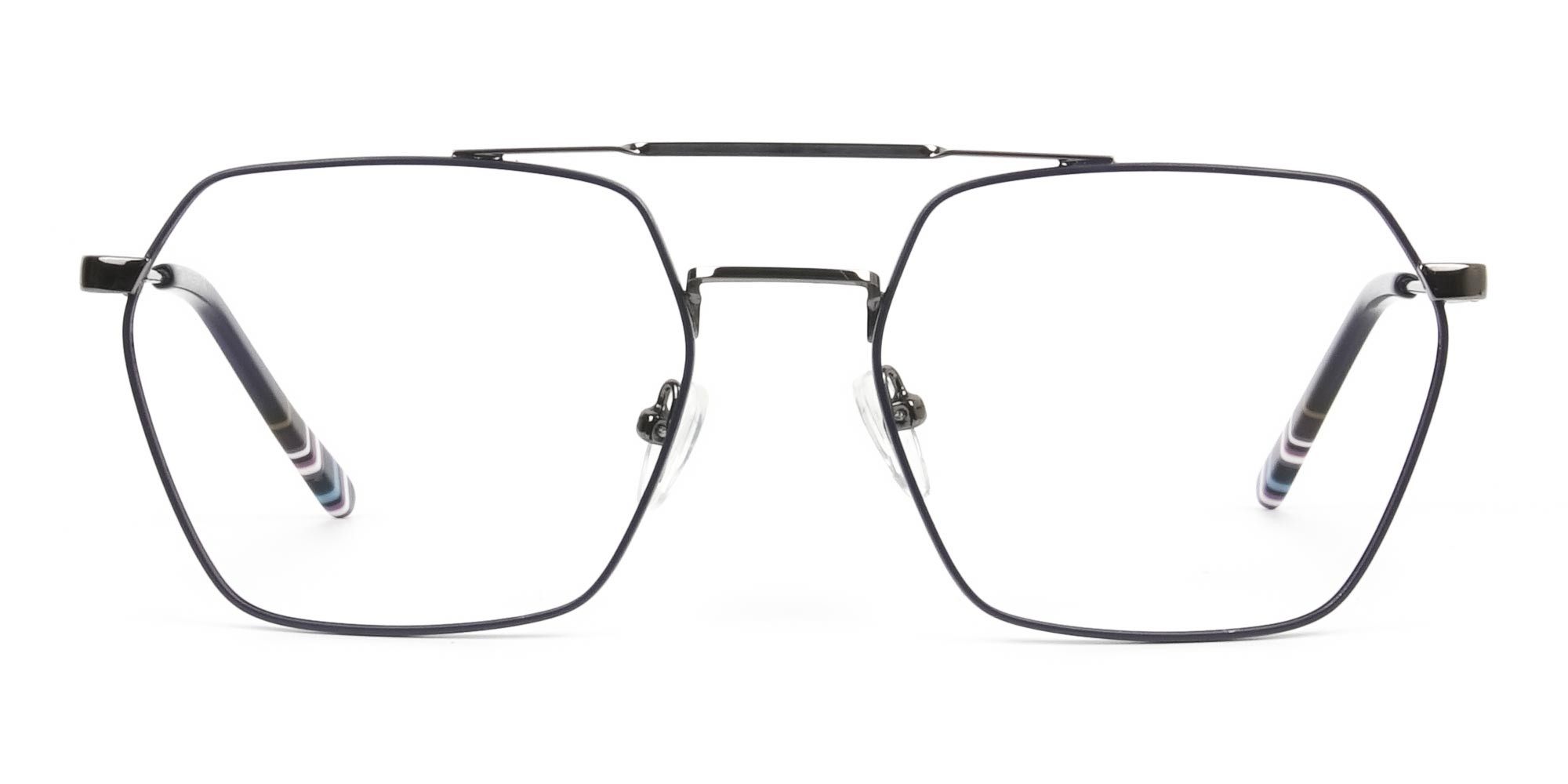 Dark Navy & Gunmetal Thin Metal Glasses - 1