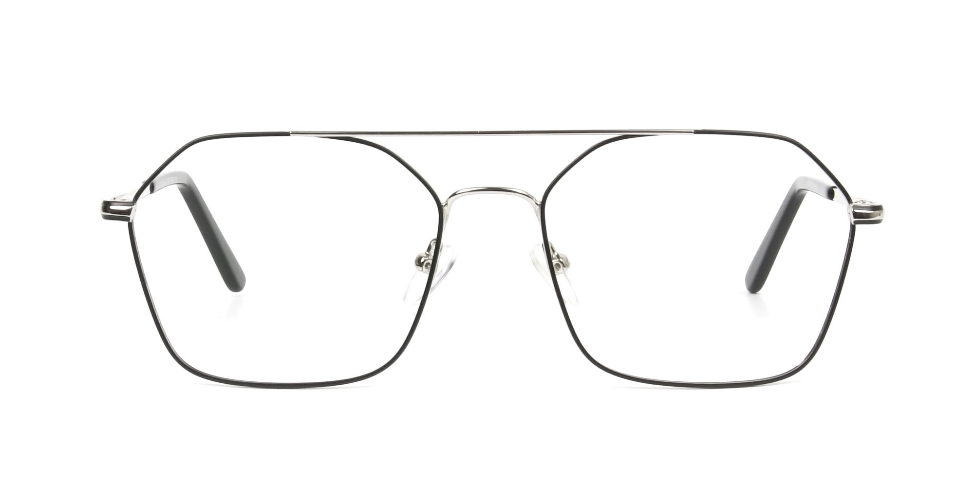 Geometric Aviator Black & Silver Spectacles - 1