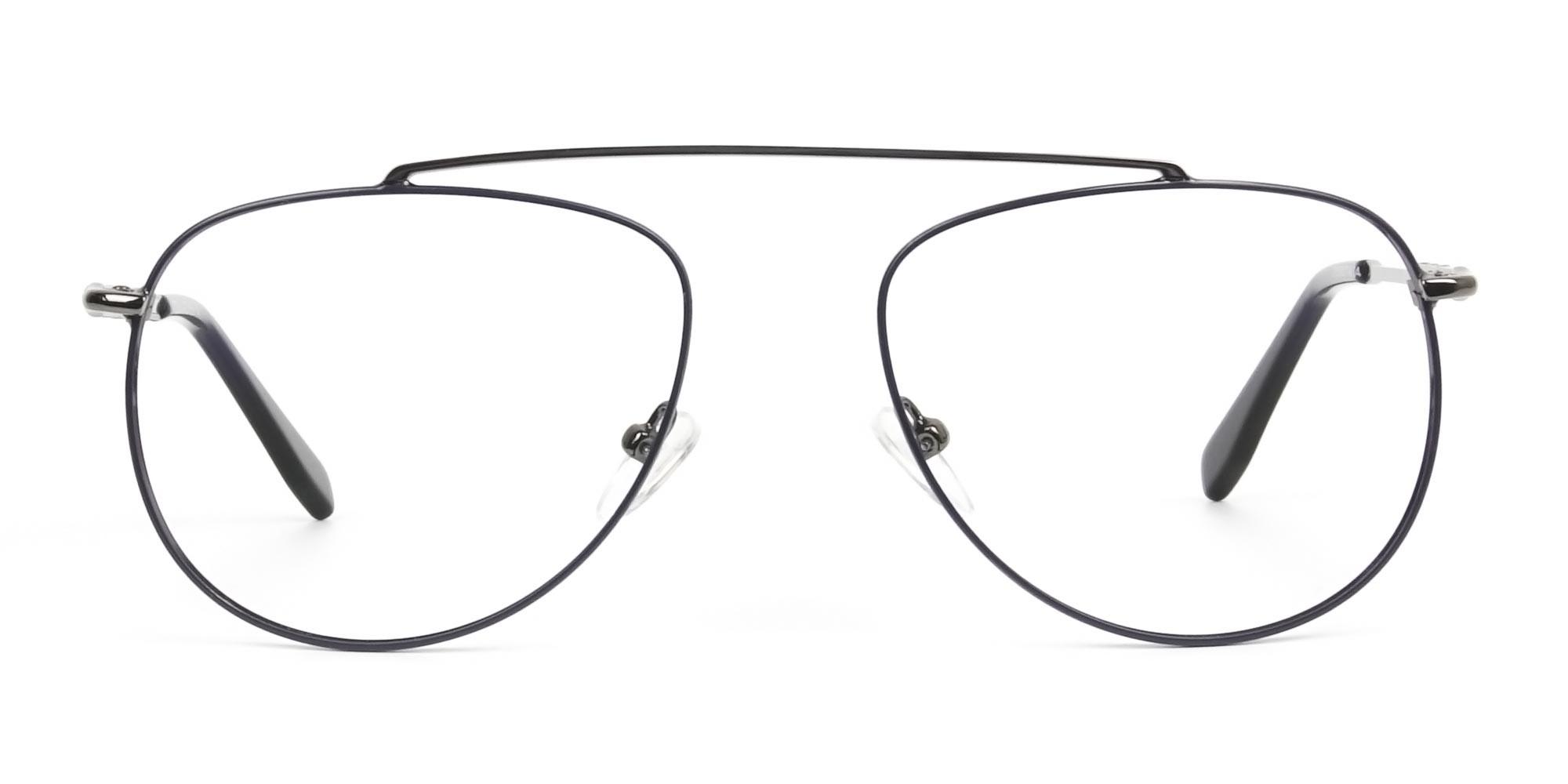 Gunmetal & Dark Navy Thin Metal Aviator Glasses - 1
