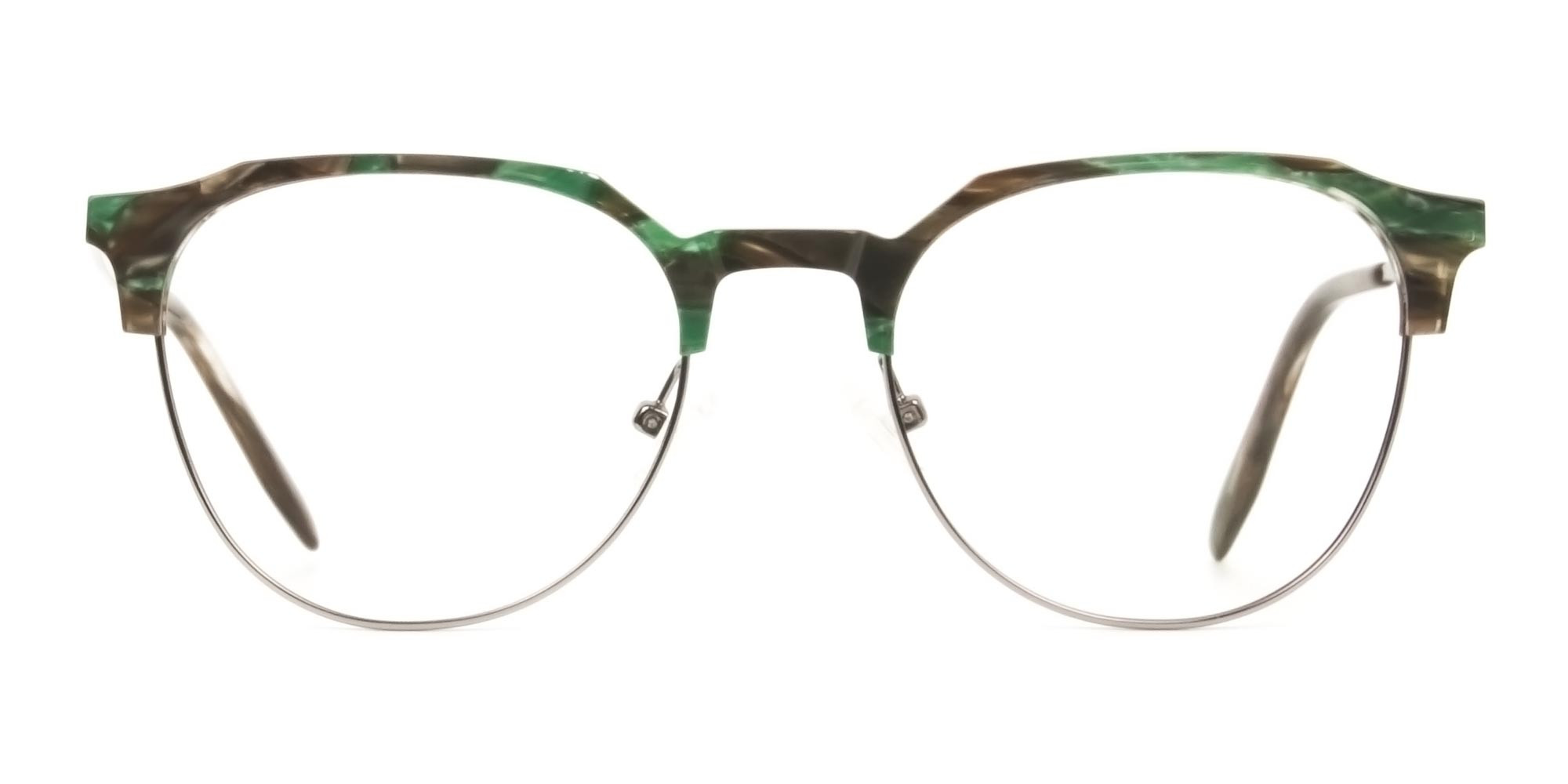 Silver & Marble Jade Green clubmaster classic glasses - 1