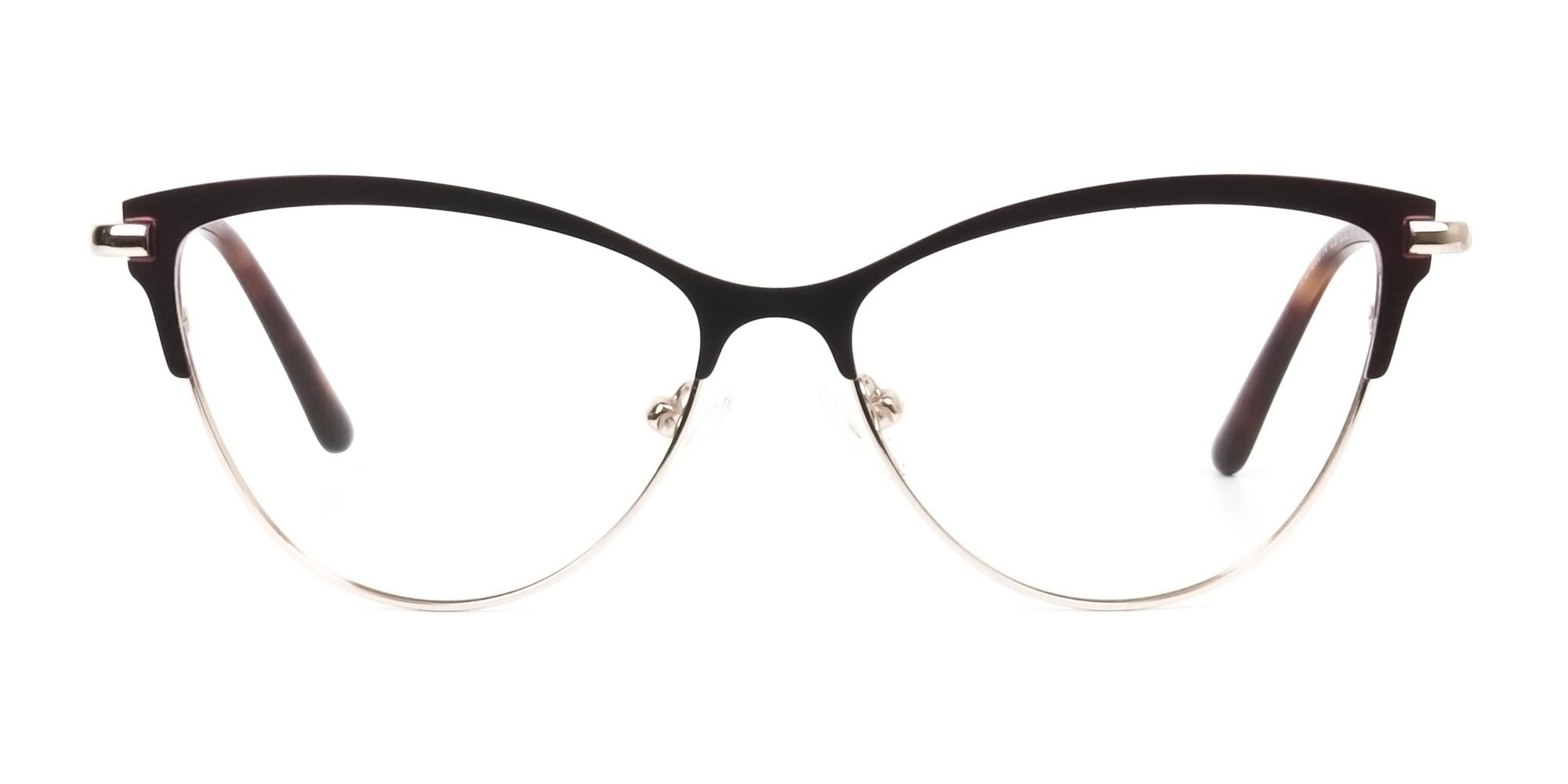 Burgundy Red and Gold Metal Cat Eye Glasses - 1