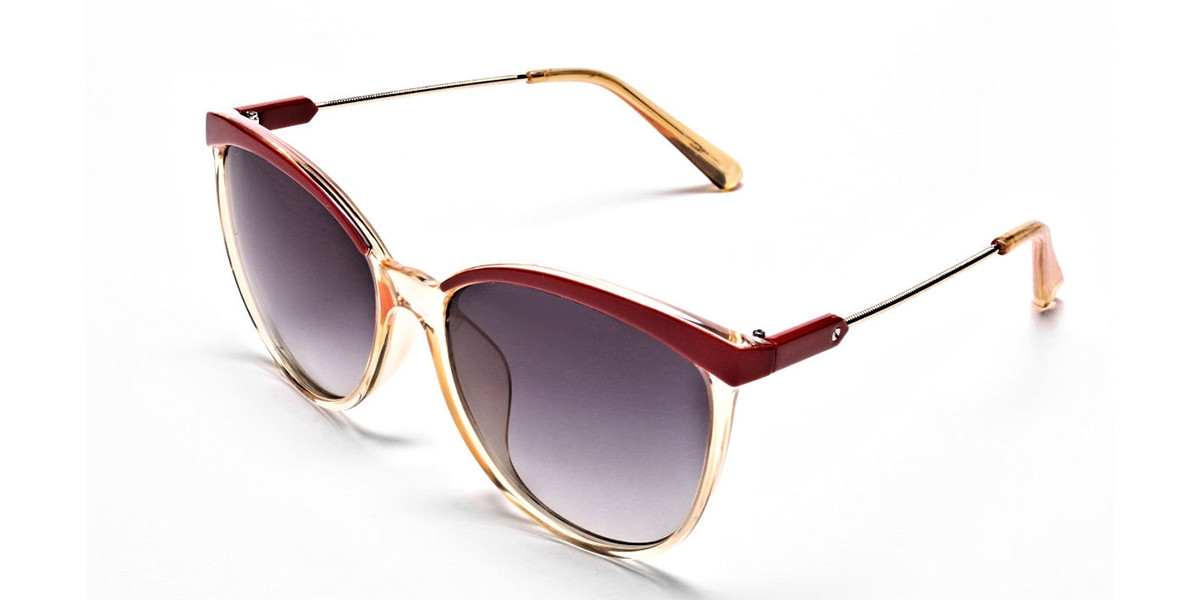 Red & Gold Browline Super Glam Sunglasses -2