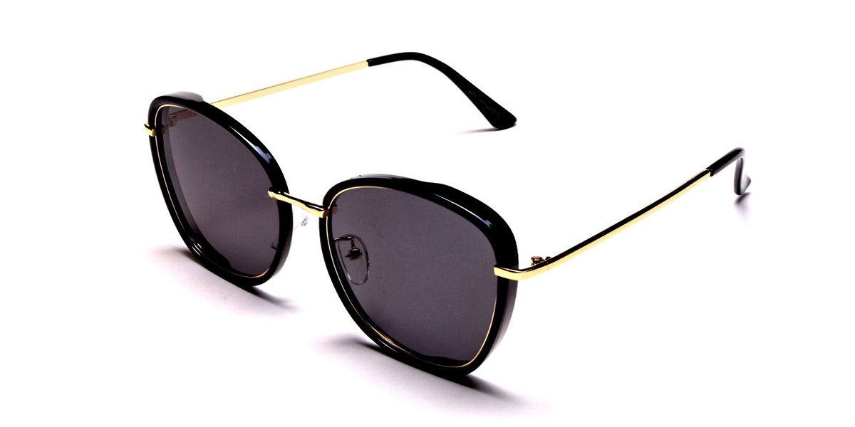 Black and Gold Oversized Sunglasses - 2