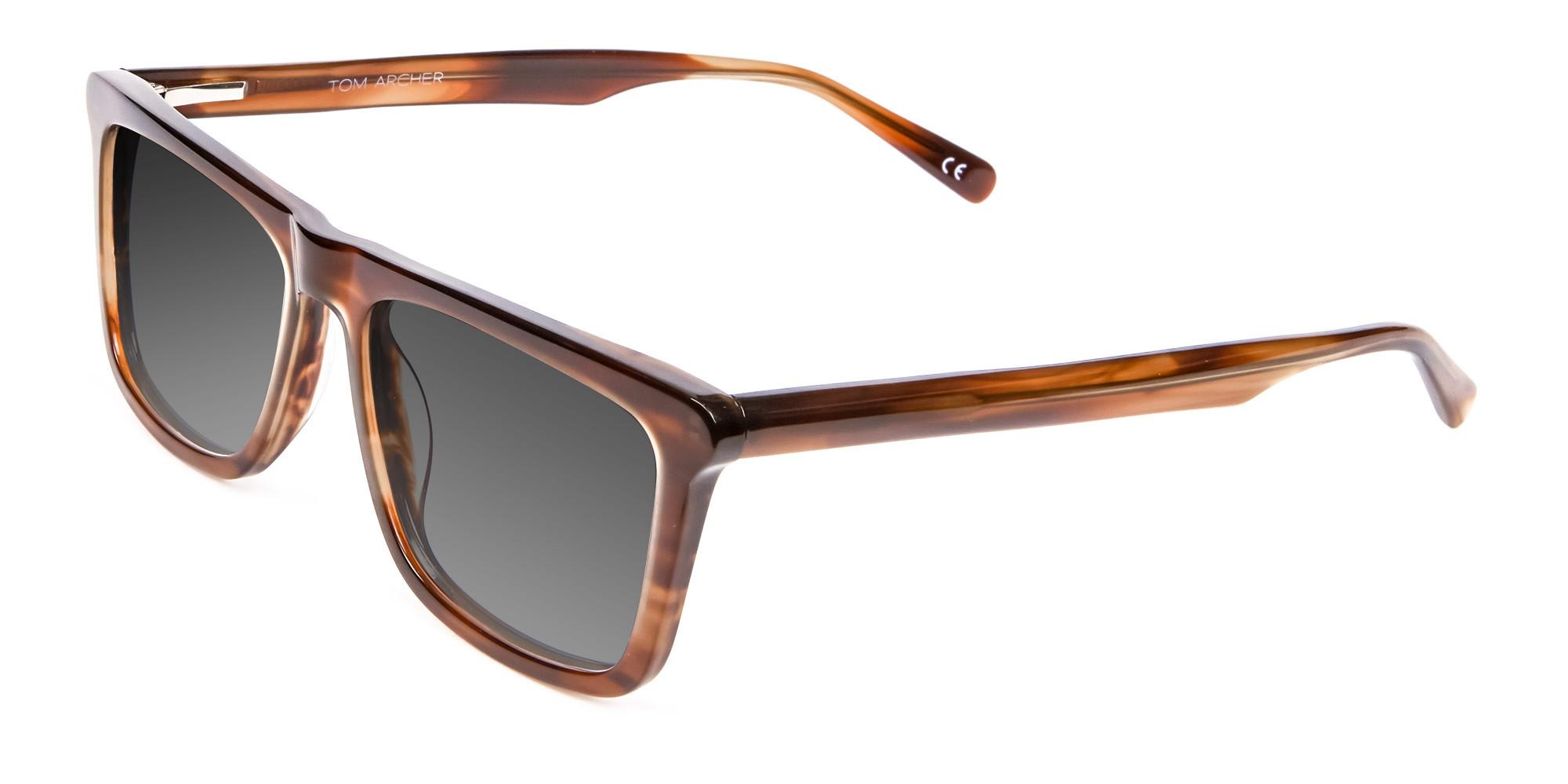 Brown Grey Rectangular Sunglasse-3
