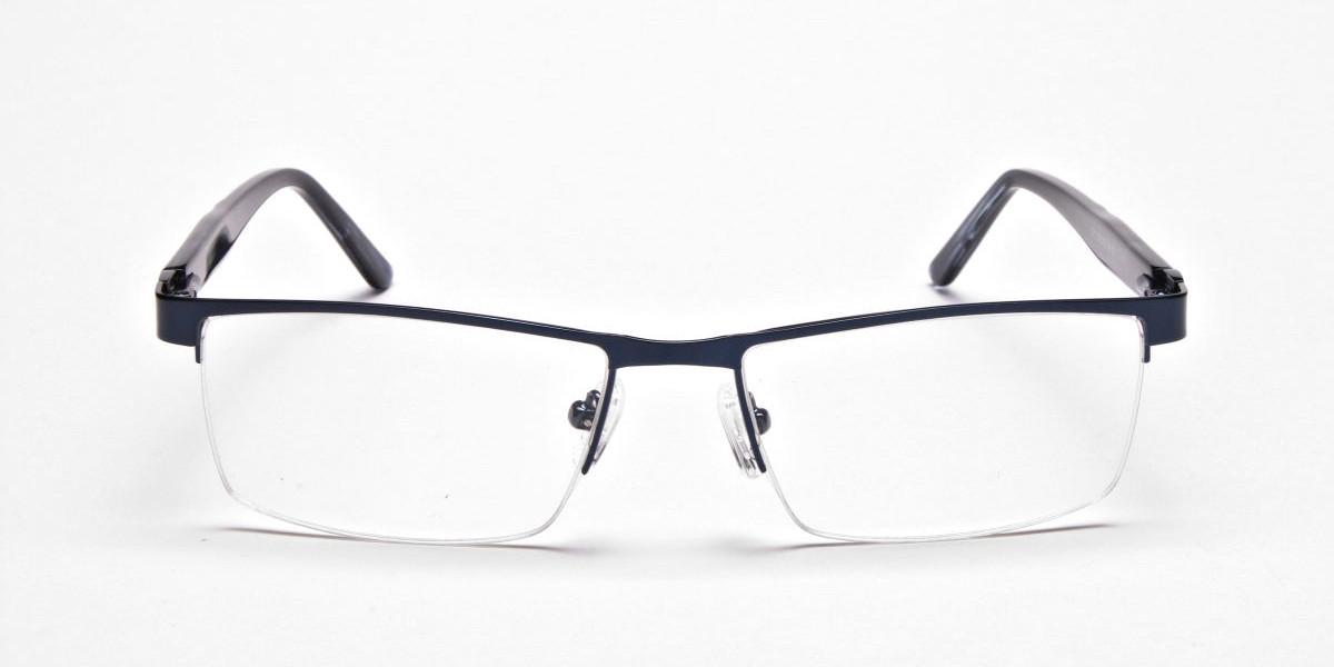 Rectangular Glasses in Navy Blue, Eyeglasses -1
