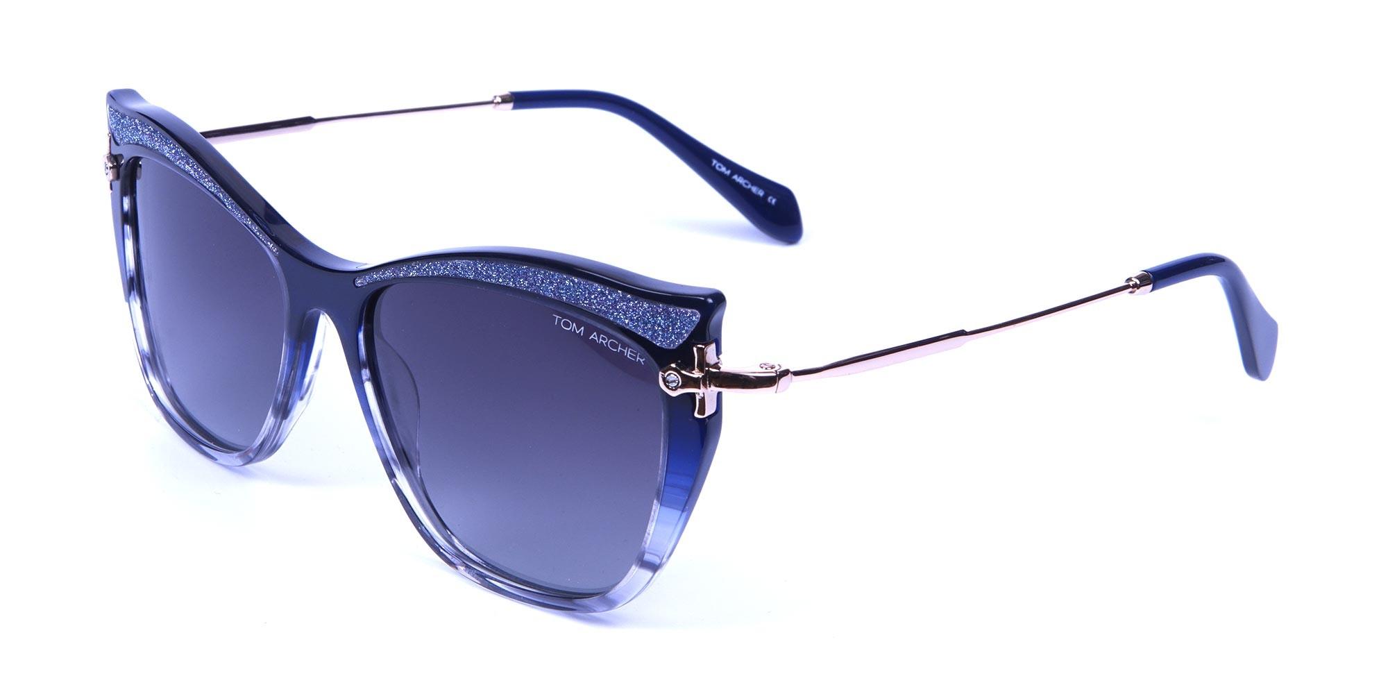 Embellished Blue Sunglasses Cat Eye -2