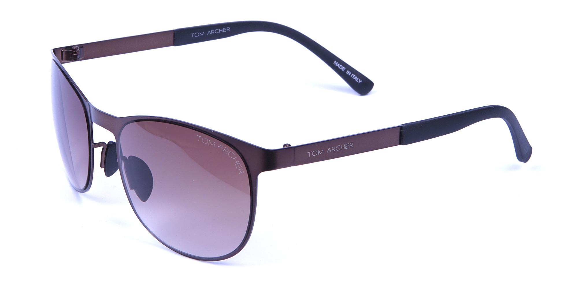 Brown and bronze sunglasses in Round Metal Frame-3